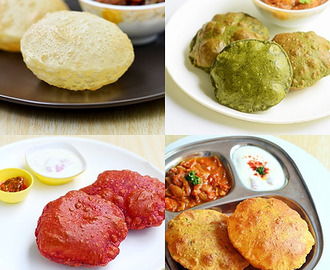 10 Poori Varieties / Stuffed Puri Recipes–Different Types Of Puri Recipe