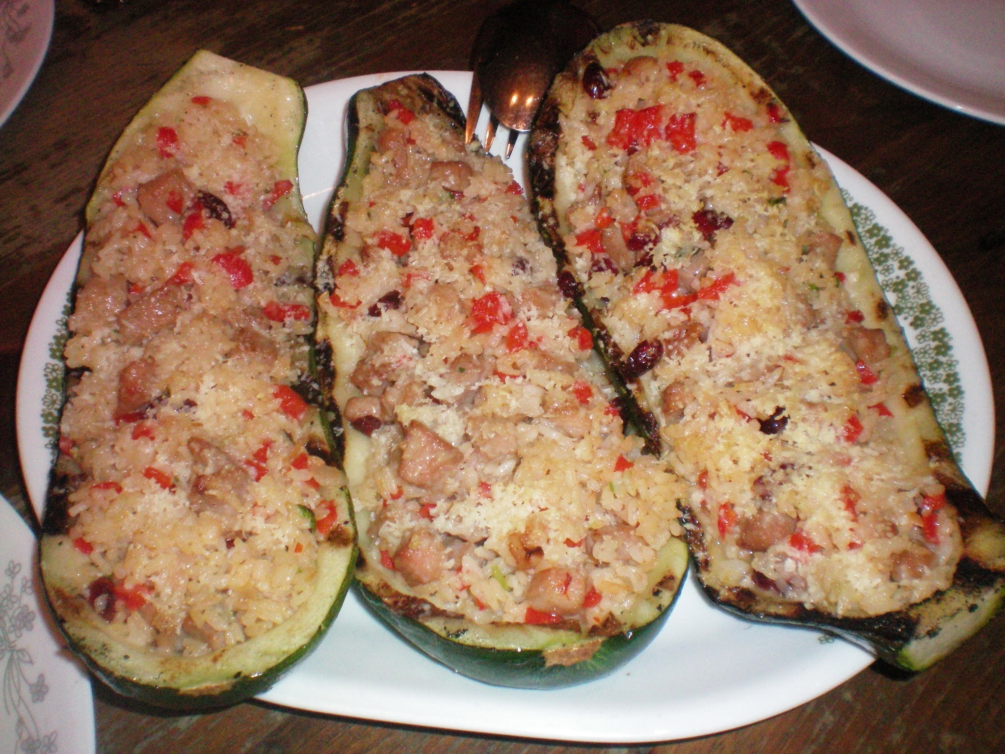 East Meets West- Zucchini with Pork and Rice Stuffing