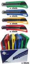 BATO Kniv brytblad 18mm. Med kvik lås. Gul/grön/röd/blå. 40 stycke display 6160