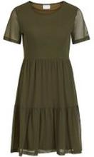 VILA Kortärmad Volangprydd Midiklänning Kvinna Grön