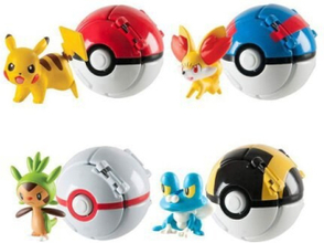 Pokemon Go kastbollar som utvecklar sig + Pokemon figur (4-PACK)