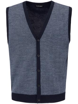 Stickad väst i 100% ny ull från Biella Yarn från Louis Sayn blå