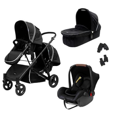 CarenaPaket Carena Liggdel + Syskonvagn + Bilstolsadapter + Babyskydd Svart