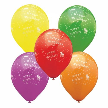 "Ballong Ø 29 cm sorterade färger ""Happy Birthday"