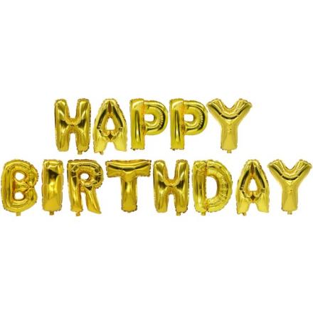 "Folieballonger Guld ""Happy Birthday"" 35cm"
