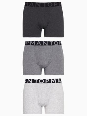 Topman Assorted Grey Trunks Pack of 3 Boxershorts Grey