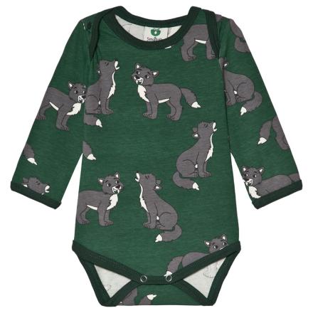 SmåfolkWild Animal Print Långärmad Baby Body Grön56cm (1 month)