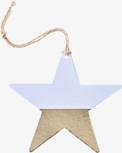 Etikett stjärna, vit/guld