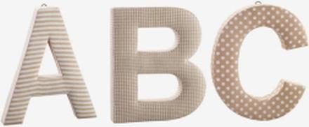 Tygbokstäver ABC, beige