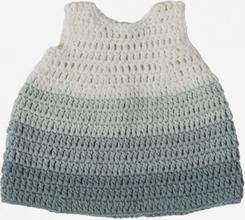 Virkad dockklänning pastellblå, 40 cm