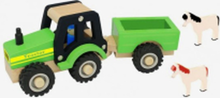 Traktor med vagn och djur i trä