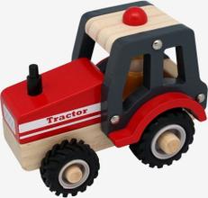 Traktor i trä med gummihjul