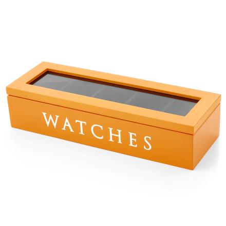 Orange Klockskrin med Träfaner - 5 Klockor