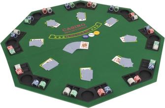 vidaXL Hopfällbar pokerbordsskiva 8 spelare åttkantigt 2-sidigt grönt