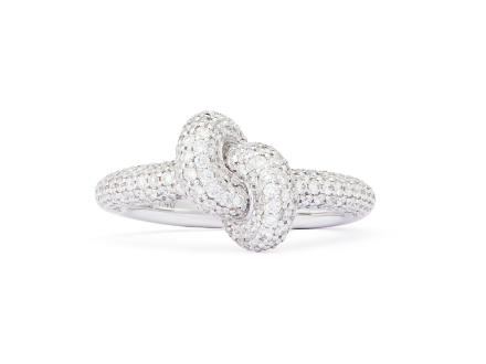 Ring Tight Knot Vitguld White Diamonds