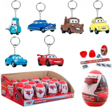 6-Pack Disney Cars Bilar Nyckelring Figurer Med Stickers Och Tattoo