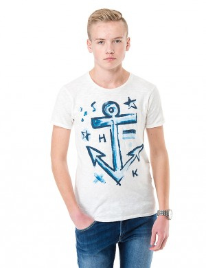 Scotch Shrunk Tee with aquarel artworks Vit T-shirt/Linnen till Kille