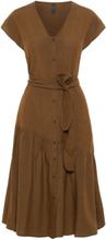 Y.A.S Volangprydd Bomullssydd Midiklänning Kvinna Grön