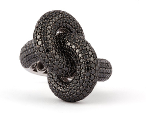 Engelbert Absolutely Fat Knot Ring Vitguld Black Diamonds
