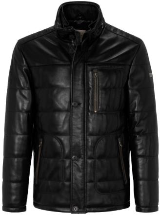 Quiltad skinnjacka 100% läder. från TRAPPER svart