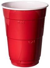 Ölglas i plast 40 cl, rött 10-pack