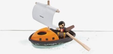 Piratbåt med åra och segel