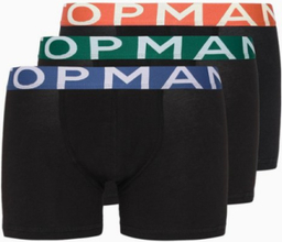 Topman Black with Multicoloured Waistband Trunks 3 Pack Boxershorts Black