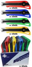 BATO Kniv brytblad 18mm. M/skruvsäkring. Gul/grön/röd/blå. 40 stycke display 6162