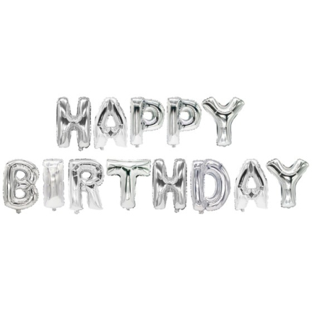 "Folieballonger Silver ""Happy Birthday"" 35cm"