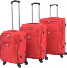 vidaXL Resväskor 3 st röd soft case