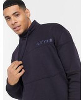 New Look – Marinblå sweatshirt med ståkrage och 'New York'-tryck