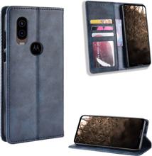 Bofink Vintage Motorola One Vision etui - Blå