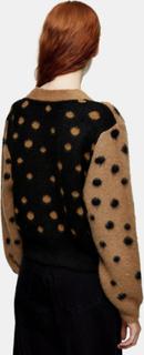 Topshop - Neutral cardigan med blandede prikker