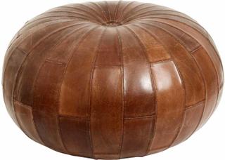 Nordal - Læder puf i antik brun - Ø71 cm