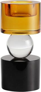Nordal - T-light fyrfadsstage i farvet krystal - Sort og ravgul