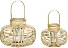 Hübsch lanterner i bambus - natur - sæt af 2