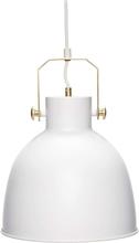 Hübsch loftlampe i hvid metal og messing