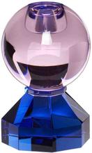 Hübsch lysestage i krystal - blå og pink