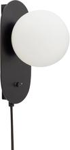 Hübsch væglampe opal sort 24x12 cm