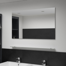 vidaXL vægspejl med hylde 100x60 cm hærdet glas