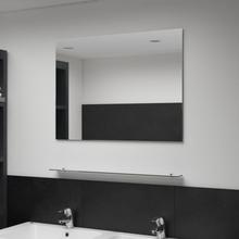 vidaXL vægspejl med hylde 80x60 cm hærdet glas