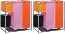 vidaXL Tvättsorterare 3 sektioner 2 st med en tvättkorg