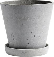Hay Flowerpot ruukku ja lautanen, L, harmaa