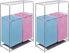 vidaXL Tvättsorterare 2 sektioner 2 st med torkhylla