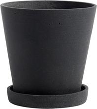 Hay Flowerpot ruukku ja lautanen, M, musta