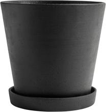Hay Flowerpot ruukku ja lautanen XXL, musta