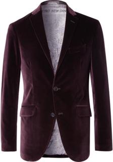 Grape Slim-fit Unstructured Stretch-cotton Velvet Blazer - Purple