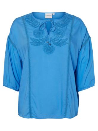 JUNAROSE Embroidered 3/4 Sleeved Blouse Women Blue