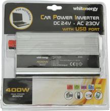 Przetwornica samochodowa WHITENERGY 24/230 V, 400 W + USB