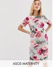 ASOS DESIGN – Mammakläder – wiggle – blommig midiklänning-Rosa